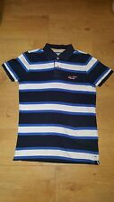 HOLLISTER WHITE BLUE SHORT SLEEVE COTTON POLO STRIPPED SHIRT TOP SIZE SMALL