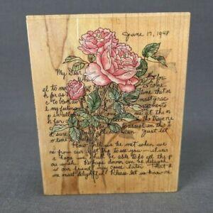 "Stamps Happen Mildred Wyatt Roses Letter Rubber Stamp #80192 4"" x 5"""