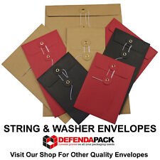 More details for dl red black white manila string and washer envelopes button & tie 220mm x 110mm