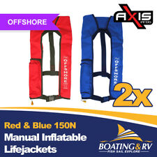 2 x Axis Red & Blue Manual Inflatable 150N LifeJackets | Offshore PFD Lifejacket