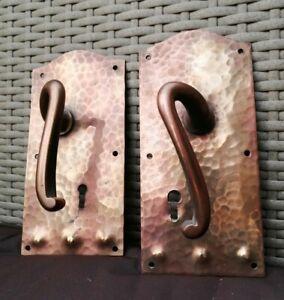Art Nouveau Copper Pair Door Handles Victorian Edwardian Antique