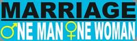 One Man One Woman Bumper Sticker!  Traditional Marriage Car Decal - FREE SHIP!