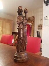Vierge a l enfant en bois naturel, style XVIII ème s