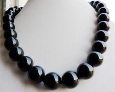 12mm Black Agate Onyx Gemstone Round Ball Beads Necklace 18''