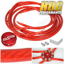 10Mm High Performance Racing Battery Ground Ofc Wire Kit Cable Set Red