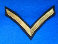 PIPE BAND PIPERS CORPORAL RANK STRIPE, CHEVRON, GOLD BRAID ON BLACK BACKING