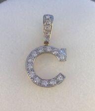 9ct Gold Cubic Zirconia Set Initial C Pendant  4.4cms  inc Bale   4.9g  NEW