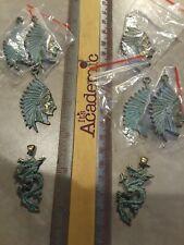 Head + 2 Brass Dragon Pendants Lot 6 Native American Brass Chief