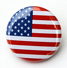 "AMERICAN FLAG - Novelty Button Pinback Badge 1"" USA America Red White Blue"