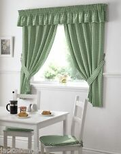 "GREEN GINGHAM EMBROIDERED PELMET TO MATCH KITCHEN CURTAINS  L136"" X W10"""
