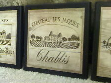 Wine Crate Style Plaques 3 Decor Signs Kitchen French vineyard pictures Chateau