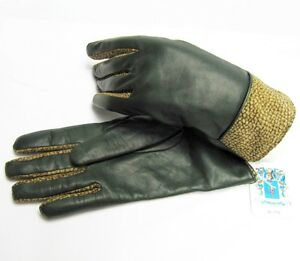 PORTOLANO Cashmere Lined Leather Women Lady 7 Gloves Trim Soft Cute Gift ITALY