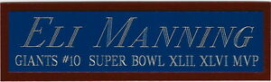 ELI MANNING GIANTS NAMEPLATE for AUTOGRAPHED Signed Football HELMET JERSEY PHOTO