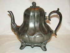 "Victorian Sheffield Pewter H.G. Long Teapot c1840's 8""h"