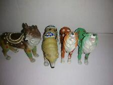 4 Wolf Figurines Western Native American Designs,  Resin ,Tribal