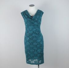CONNECTED APPAREL Petite Spruce Green Sequin Lace Sheath Dress Cowl Neck Size P6