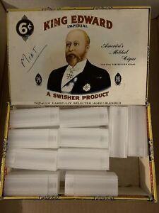20 Plastic US Quarter Tubes W/Snap-On Lids in King Edward Cigar Box