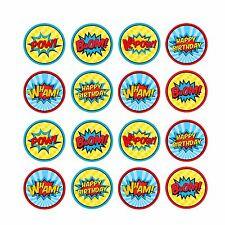 16x EDIBLE Comic book Super hero words Cupcake Toppers Wafer Paper 4cm (uncut)