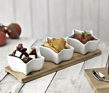 Ceramic Star Shaped Dip Set Snack Bowl Gift Set with Bamboo Board by Occasion