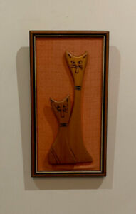 VINTAGE Teak Cats Mid Century Modern Framed Retro Carving CAN BE MAILED