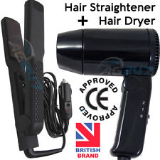 12v Car Motorhome Cigarette Lighter Plug In Travel Hair Straightener +Hair Dryer