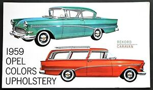 ORIGINAL 1959 OPEL COLORS & UPHOLSTERY BROCHURE ~ US VERSION ~ 4 PAGES ~ 59OC
