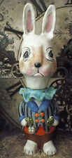 Folk Art Pottery Rabbit Container One of a Kind, White Bunny Character Sculpture