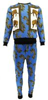 Mens Baroque Leopard Print Tracksuit Urban Hip Hop Top Bottoms Joggers Sweats