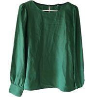 J. Crew Women's Size Medium Blouse Top Long Sleeve Green Crewneck Polyester