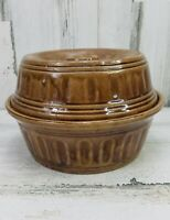 Vintage McCoy USA Brown Covered Casserole Dutch Oven Pottery Stoneware