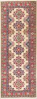 6 ft Ivory Super Kazak Caucasian Geometric Oriental Runner Rug 2x6 Handmade Wool