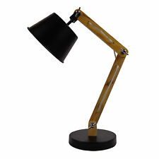 Desk Lamp Stylish Timber Arms With A Metal Shade Black IT020A