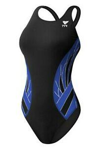 $75 TYR Women's Phoenix Maxfit Swimsuit, Black/Blue, Size 34 - 0F_62