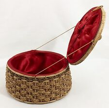 Vtg Woven Hemp Rope & Splint Sewing Basket Box Red Satin Tufted Lining 1930s
