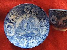 Antique Pearlware Tea Cup Saucer Blue and White Gothic Chinese Transferware 19th