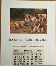 Bank of Gordonville, MO 1908 Advertising Calendar w/Osthaus-Signed Dog Print