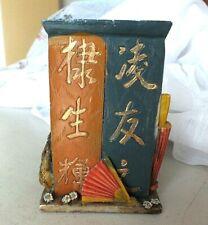 Chinois Style Antique Stylo Brosse Rouge Bleu Résine pot couverts Titulaire japo...