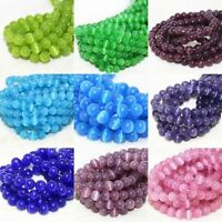 Cat's Eye Round Ball Crystal Glass Loose Spacer Beads 4/6/8/10mm