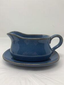 Le Tauci Ceylon Blue Stoneware Gravy Boat with Saucer