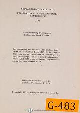 Gorton P2 3 3 Dimensional Pantograph 2575 Supplement 1385 E Amp Partsmanual 19533