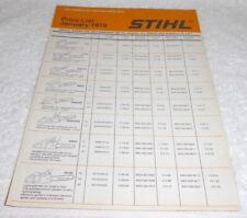 Vintage original Stihl full line price list dating to 1979