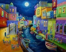 Original oil  Expressionism surrealism cityscape Thousand & one Nights silk road