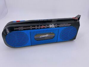 General Electric Sidestep Black Blue Boombox Battery Stereo Cassette 80's