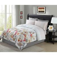8 Pieces Complete Bed in a Bag Set Comforter Floral Flowers King Queen Full Twin