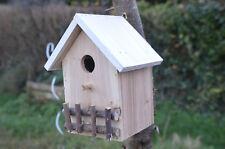 Nichoir Cabine Abris pour oiseaux en bois, couleur bois naturel toit en blanc