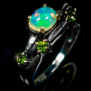 Natural Opal handmade chrome diopside 925 Sterling Silver Ring /RVS350