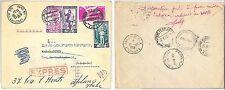 ITALIA  storia postale - LAVORO :  BUSTA ESPRESSO per PARIGI, RISPEDITA 1953