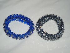 Set Lot Of 2 Stretch Nicole Arm Bracelets Silver & Blue Lots Of Rhinestones *