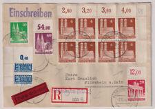 Bizone/Bauten, 74wg/8er-Eckrand,verzähnter Notopfer-Eckrand, u.a.R-Eil-Flörsheim