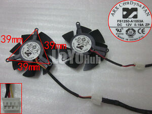 New FS1250-A1053A Graphics dual fan DC12V 0.19A Pitch:39*39*39mm 3-Wire/4-Pin